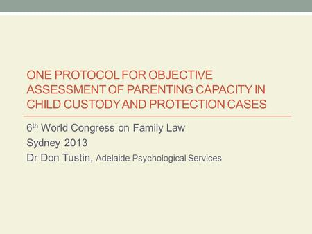 6th World Congress on Family Law Sydney 2013