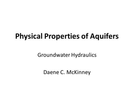Physical Properties of Aquifers