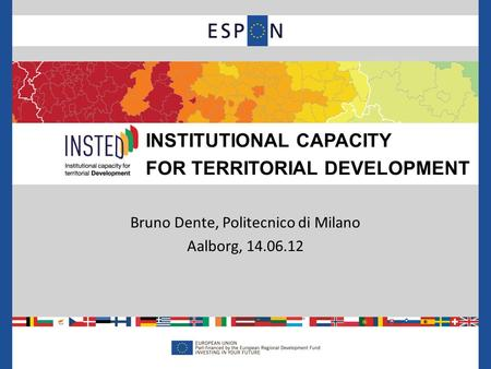 Bruno Dente, Politecnico di Milano Aalborg, 14.06.12 INSTITUTIONAL CAPACITY FOR TERRITORIAL DEVELOPMENT.