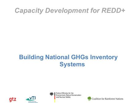 Capacity Development for REDD+ Building National GHGs Inventory Systems.