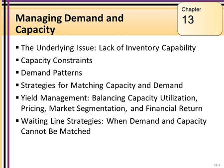 Managing Demand and Capacity The Underlying Issue: Lack of Inventory Capability Capacity Constraints Demand Patterns Strategies for Matching Capacity and.