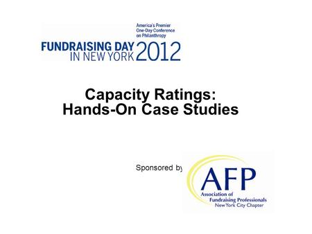 Capacity Ratings: Hands-On Case Studies Sponsored by.