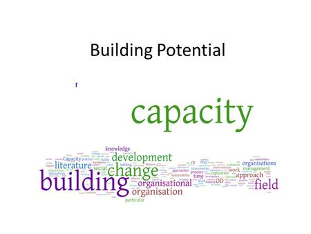Building Potential. What is capacity? Specific aspects of the functioning of an organisation (often referred to as functionalities) such as finance, human.
