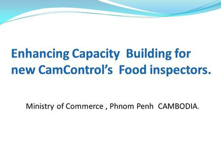 Ministry of Commerce, Phnom Penh CAMBODIA.. CamControl Directorate- General CamControl Inspectors FAO (Donor) International Consultant Local Consultant.