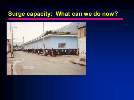 Surge capacity: What can we do now?. Surge capacity? Do we need a disaster to make it happen? The morning report vs. ED holds.