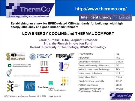 LOW ENERGY COOLING and THERMAL COMFORT