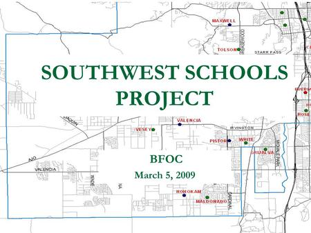 BFOC March 5, 2009 SOUTHWEST SCHOOLS PROJECT. 200 450 over capacity 150 over capacity 400 over capacity 300 over capacity 150 over capacity 150 under.