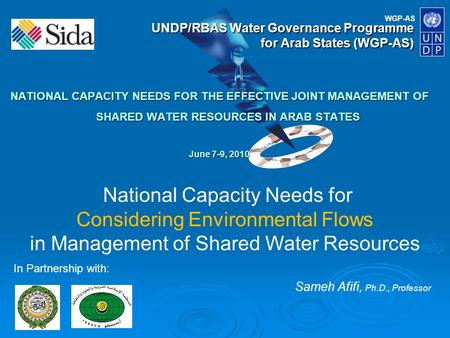 WGP-AS UNDP/RBAS Water Governance Programme for Arab States (WGP-AS) NATIONAL CAPACITY NEEDS FOR THE EFFECTIVE JOINT MANAGEMENT OF SHARED WATER RESOURCES.
