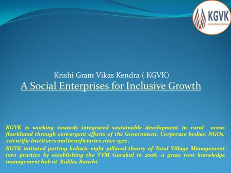 A Social Enterprises <strong>for</strong> Inclusive Growth