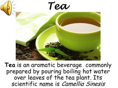 Tea is an aromatic beverage commonly prepared by pouring boiling hot water over leaves of the tea plant. Its scientific name is Camellia Sinesis Tea.