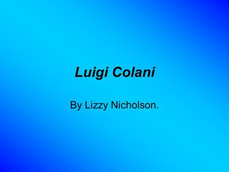 Luigi Colani By Lizzy Nicholson.. Luigi Colani Luigi Colani was born in Berlin on the 2 nd August 1928. Colani was studying nature and sculptures for.