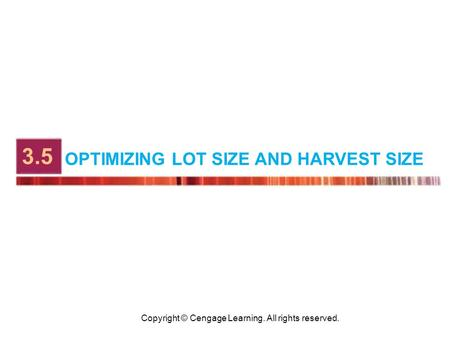 Copyright © Cengage Learning. All rights reserved. OPTIMIZING LOT SIZE AND HARVEST SIZE 3.5.