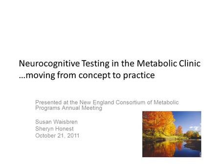 Neurocognitive Testing in the Metabolic Clinic …moving from concept to practice Presented at the New England Consortium of Metabolic Programs Annual Meeting.