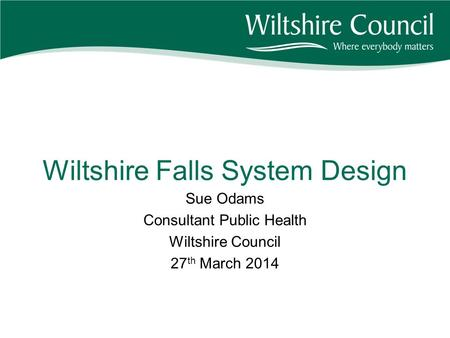 Wiltshire Falls System Design Sue Odams Consultant Public Health Wiltshire Council 27 th March 2014.