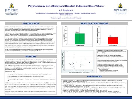 RESULTS & CONCLUSIONS METHODS Twenty Johns Hopkins University (JHU) psychiatry residents provided informed consent and completed an IRB-approved, anonymous.
