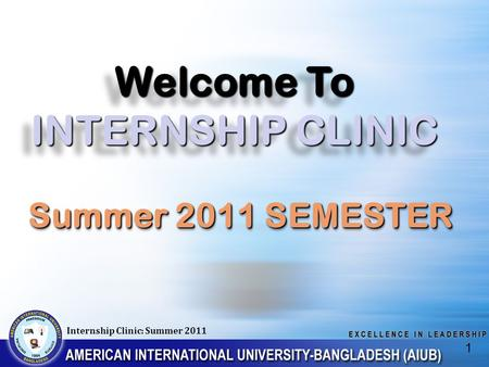 Welcome To INTERNSHIP CLINIC Internship Clinic: Summer 2011