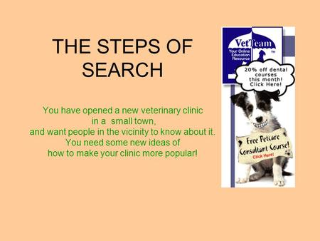 THE STEPS OF SEARCH You have opened a new veterinary clinic in a small town, and want people in the vicinity to know about it. You need some new ideas.