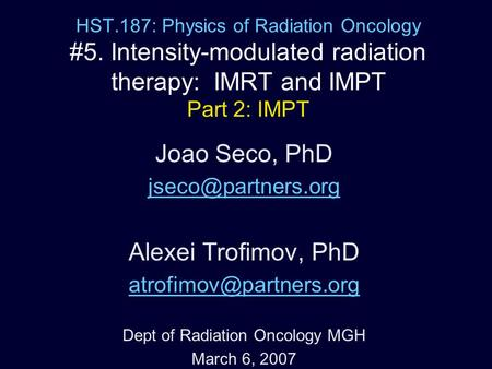 Dept of Radiation Oncology MGH