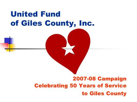 United Fund of Giles County, Inc. 2007-08 Campaign Celebrating 50 Years of Service to Giles County.