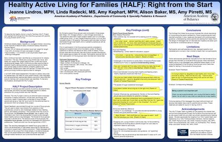 Www.postersession.com Objective To describe the Healthy Active Living for Families (HALF) Project and highlight the findings from the initial focus groups.