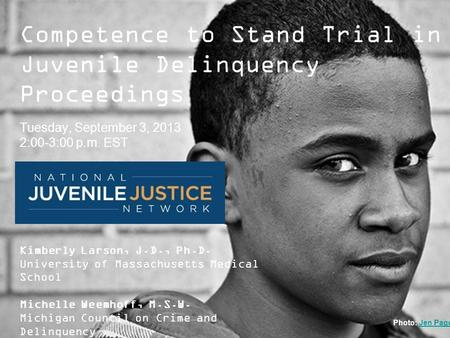 ModelsforChange Systems Reform in Juvenile Justice Competence to Stand Trial in Juvenile Delinquency Proceedings Tuesday, September 3, 2013 2:00-3:00 p.m.