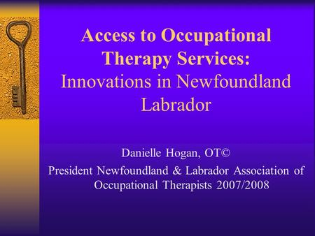 Access to Occupational Therapy Services: Innovations in Newfoundland Labrador Danielle Hogan, OT© President Newfoundland & Labrador Association of Occupational.