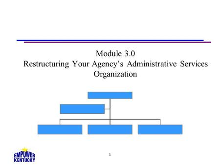 1 Module 3.0 Restructuring Your Agencys Administrative Services Organization.