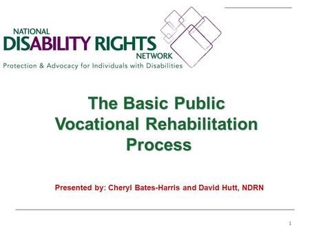 1 The Basic Public Vocational Rehabilitation Process Process Presented by: Cheryl Bates-Harris and David Hutt, NDRN.