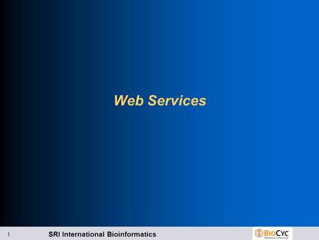 SRI International Bioinformatics 1 Web Services. SRI International Bioinformatics 2 Kinds of Web Services Data retrieval Web Services l PTools-XML l BioPAX.