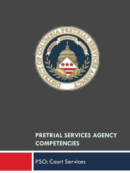 PRETRIAL SERVICES AGENCY COMPETENCIES PSO: Court Services.