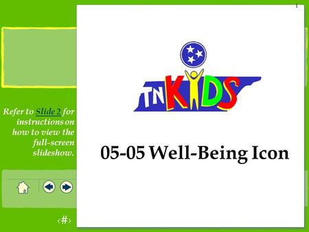 1 1 05-05 Well-Being Icon Refer to Slide 2 for instructions on how to view the full-screen slideshow.Slide 2.