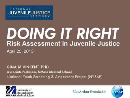 GINA M VINCENT, PHD Associate Professor, UMass Medical School National Youth Screening & Assessment Project (NYSAP) Risk Assessment in Juvenile Justice.