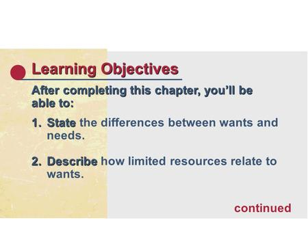 Learning Objectives After completing this chapter, youll be able to: 1.State 1.State the differences between wants and needs. 2.Describe 2.Describe how.