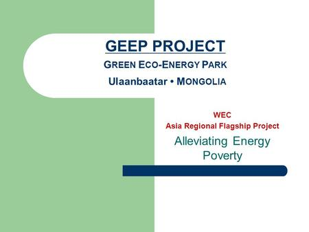 WEC Asia Regional Flagship Project Alleviating Energy Poverty.