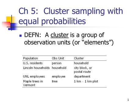1 Ch 5: Cluster sampling with equal probabilities DEFN: A cluster is a group of observation units (or elements)