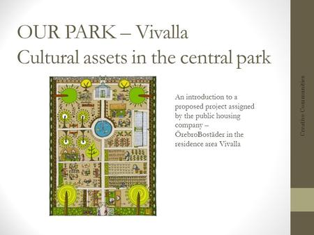 OUR PARK – Vivalla Cultural assets in the central park Creative Communities An introduction to a proposed project assigned by the public housing company.