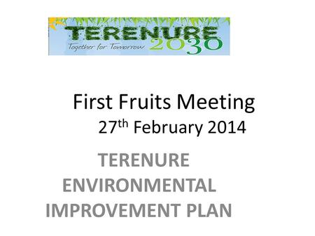 First Fruits Meeting 27 th February 2014 TERENURE ENVIRONMENTAL IMPROVEMENT PLAN.