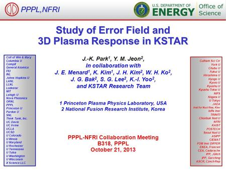 PPPL,NFRI Study of Error Field and 3D Plasma Response in KSTAR J.-K. Park 1, Y. M. Jeon 2, In collaboration with J. E. Menard 1, K. Kim 1, J. H. Kim 2,