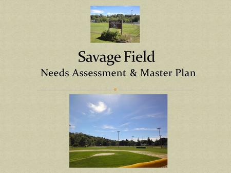 Needs Assessment & Master Plan. Needs Assessment & Master Plan Results Proposed Plan Costs Needs Safety Issues About Savage Field Environmental Impact.