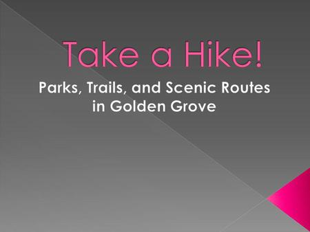 Improve your physical fitness by exploring the City of Golden Groves many paths, trails, and parks.
