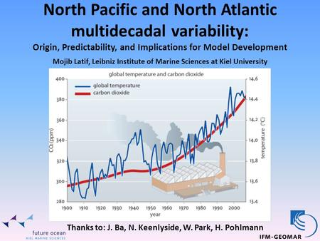 North Pacific and North Atlantic multidecadal variability: Origin, Predictability, and Implications for Model Development Thanks to: J. Ba, N. Keenlyside,