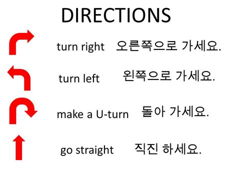 DIRECTIONS turn right turn left make a U-turn go straight....