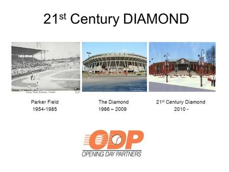 21 st Century DIAMOND Parker Field The Diamond 21 st Century Diamond 1954-1985 1986 – 2009 2010 -