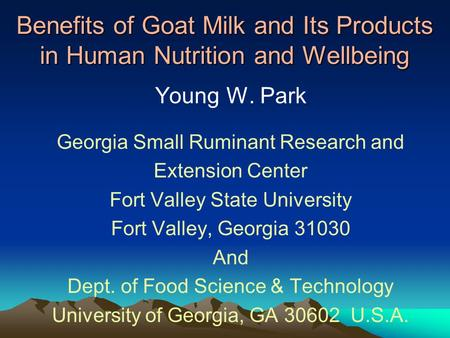 Young W. Park Georgia Small Ruminant Research and Extension Center