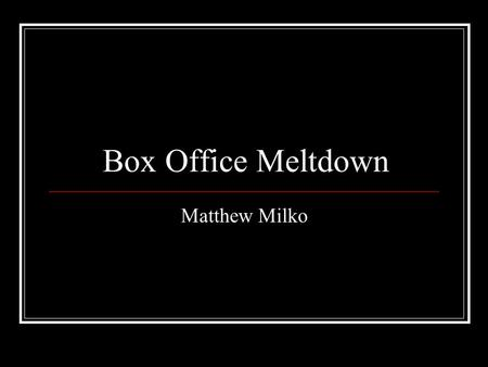 Box Office Meltdown Matthew Milko. Movie Theaters 1896 – First Movie Theater – Vitascope Hall in New Orleans, Louisiana.