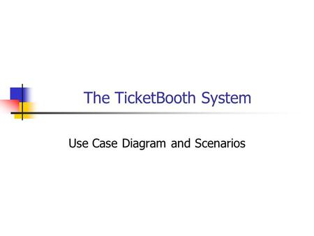 The TicketBooth System Use Case Diagram and Scenarios.