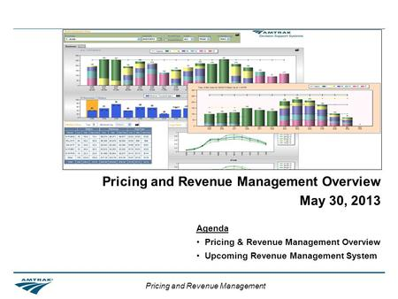 Pricing and Revenue Management Pricing and Revenue Management Overview May 30, 2013 Agenda Pricing & Revenue Management Overview Upcoming Revenue Management.