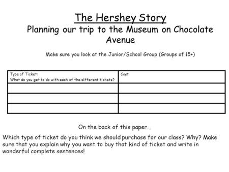 The Hershey Story Planning our trip to the Museum on Chocolate Avenue Make sure you look at the Junior/School Group (Groups of 15+) Type of Ticket: What.