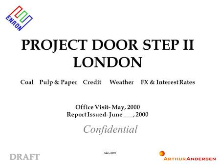 DRAFT May, 2000 PROJECT DOOR STEP II LONDON Coal Pulp & Paper Credit Weather FX & Interest Rates Office Visit- May, 2000 Report Issued- June ___, 2000.