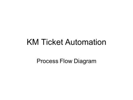 KM Ticket Automation Process Flow Diagram. Local Components FC (Flow Computer) –Local proprietary computer that reads the meter. FDS (Field Data Server)